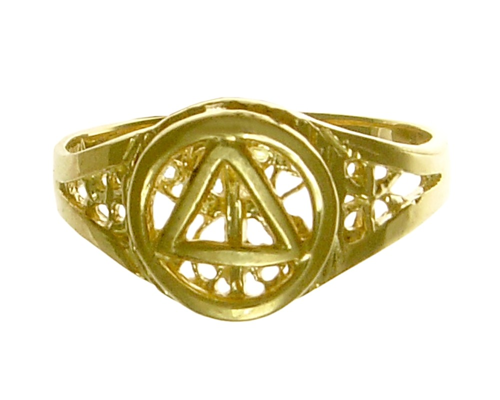 14k Gold, Ring with AA Symbol on a Filigree Style Band