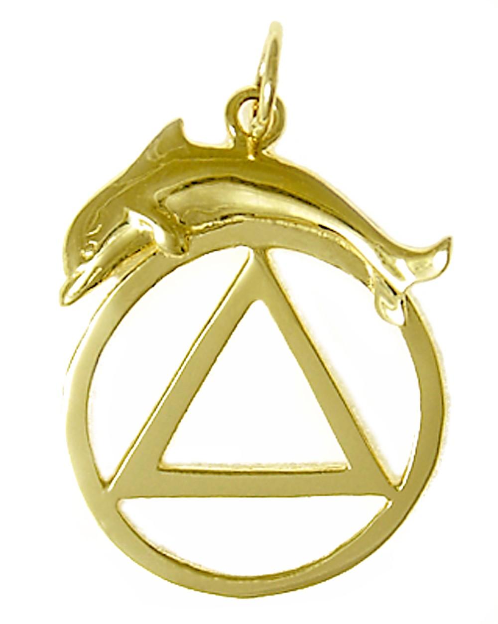 Gold dolphin pendant alcoholics anonymous pendant 14k gold aa symbol wdolphin pendant 14kaasymbledolphinpendantg aloadofball Gallery
