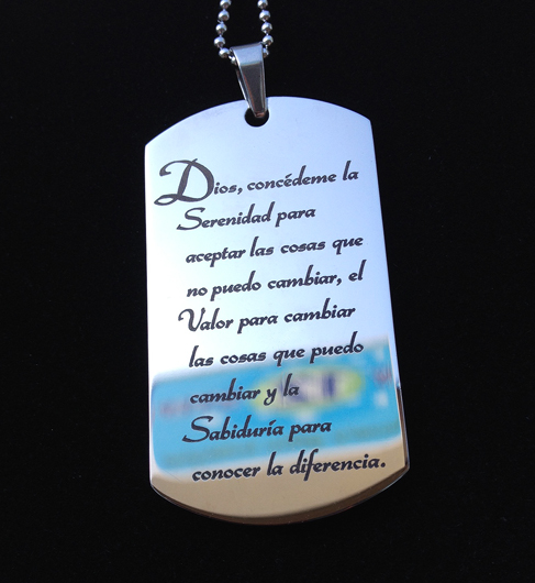 Spanish Serenity Prayer Designer Dog Tag Necklace