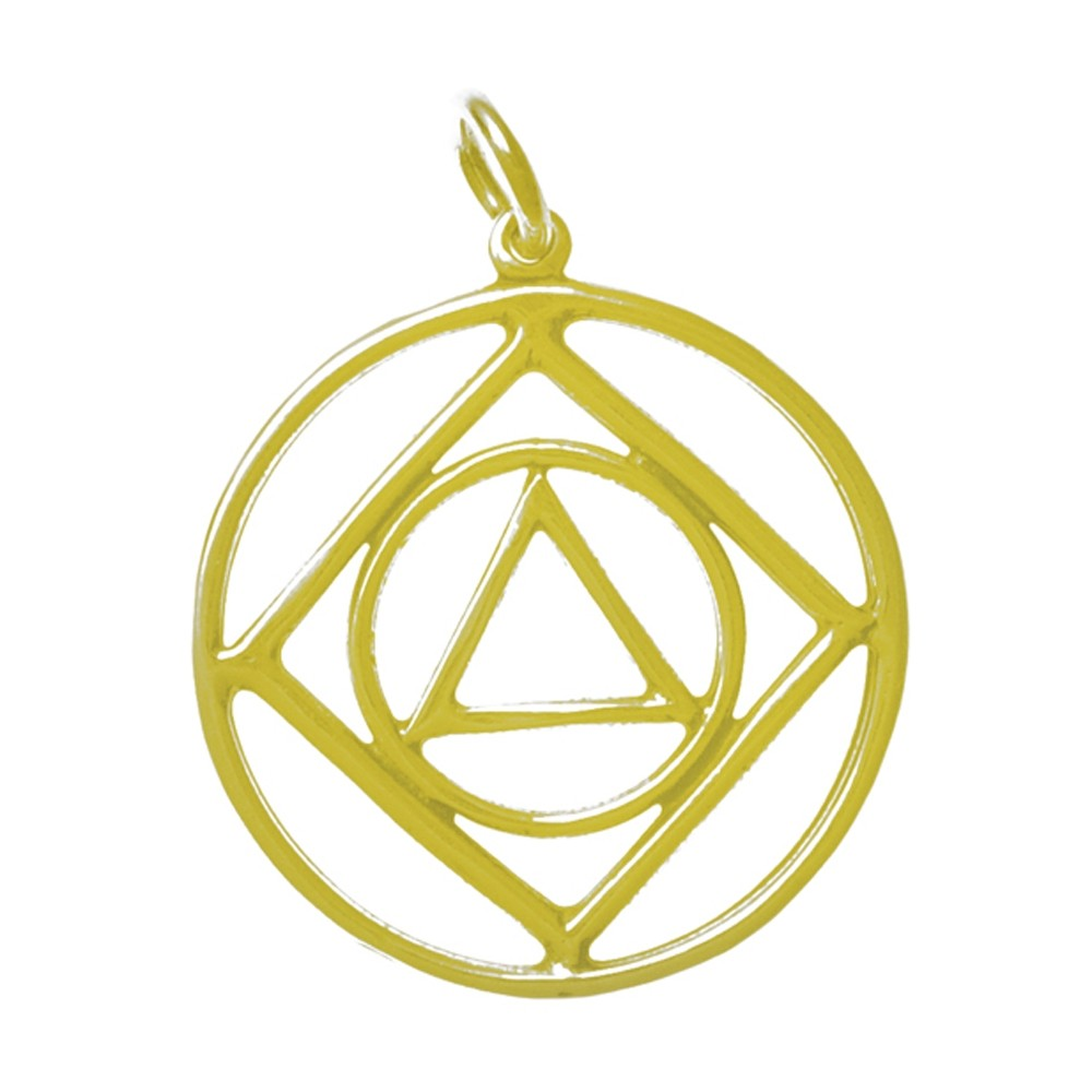 14k Gold, AA & NA Anonymous Dual Symbol Pendant, Large Size As Seen In...