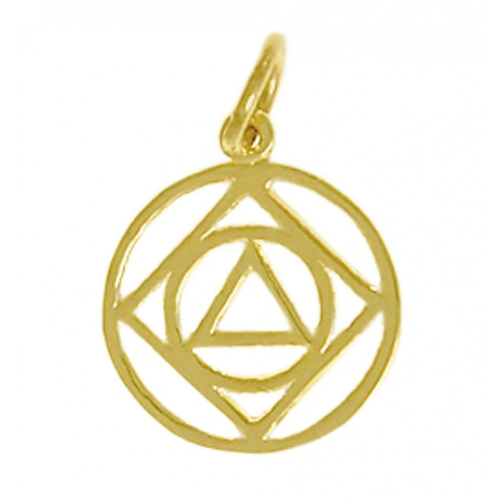 14k Gold, AA & NA Anonymous Dual Symbol Pendant, Medium Size Size & Fit Guide