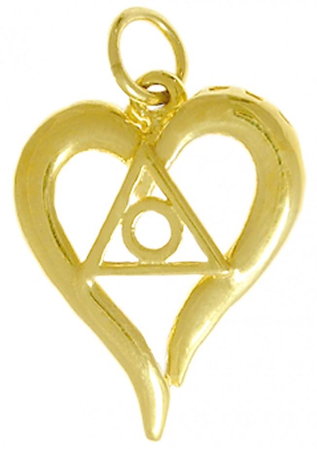 14k Gold Al Anon Symbol Heart Pendant