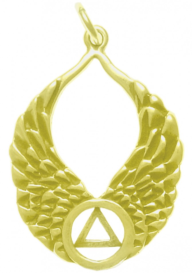 14k Yellow Gold Angel Wing Pendant Sobriety Necklace Pendant