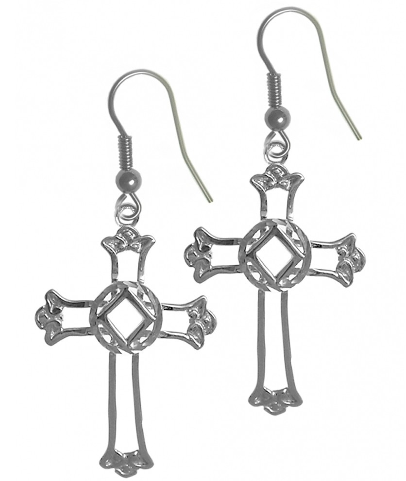 sterling silver cross with na symbol earrings