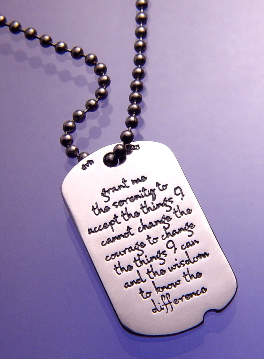 Serenity prayer dog tag serenity prayer pendant my 12 step store the shape of this serenity prayer dog tag is a scaled down reproduction of the shape introduced by us army in 1940 aloadofball Images
