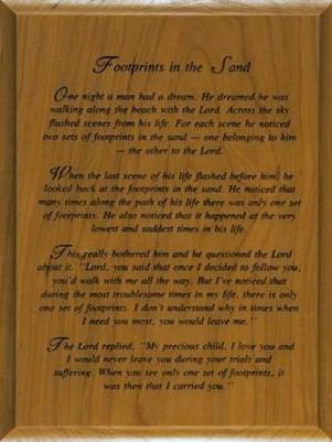 FOOTPRINTS POEM Wood Plaque