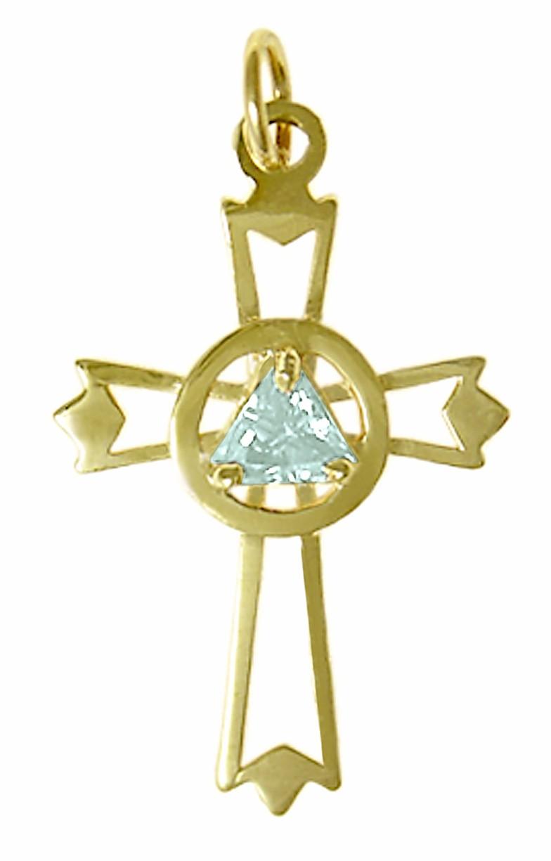 14k Gold Aa Symbol Birth Stone Cross Pendant