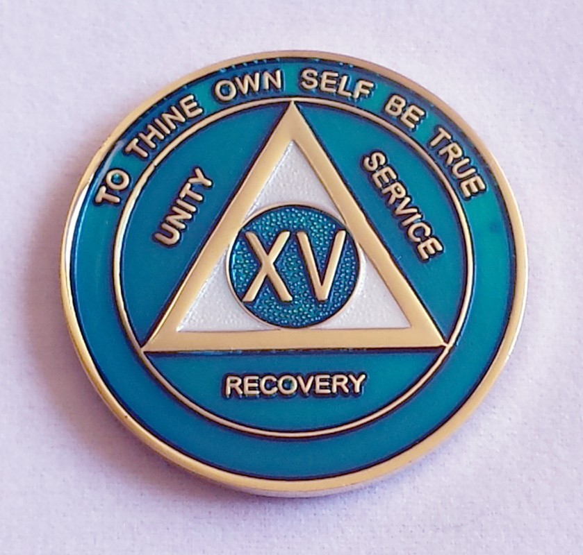 Teal Blue Recovery Medallion Sobriety Medallions For Aa