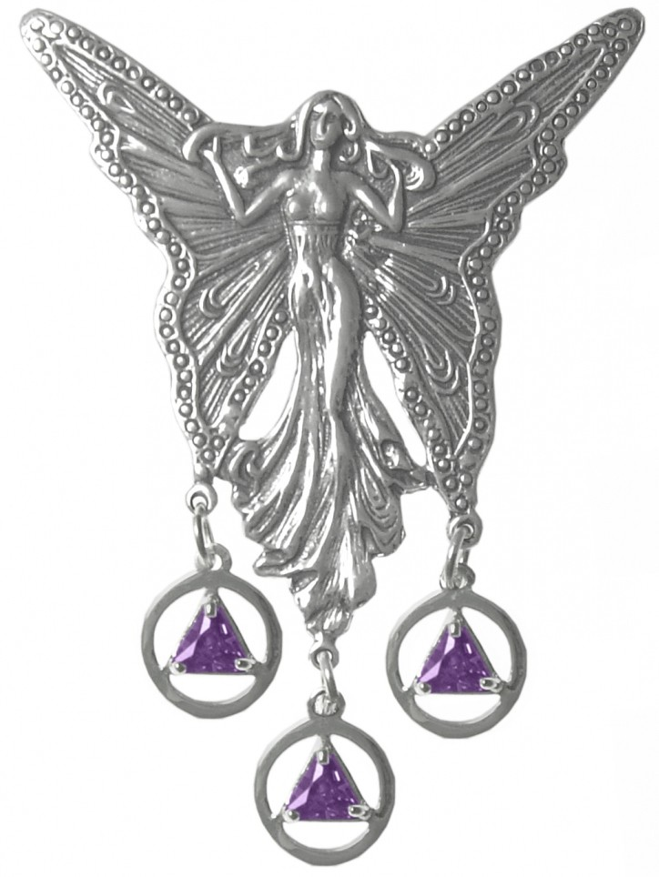Sterling silver large fairy with 3 hanging aa birthstone pendants largefairypendantg mozeypictures Images