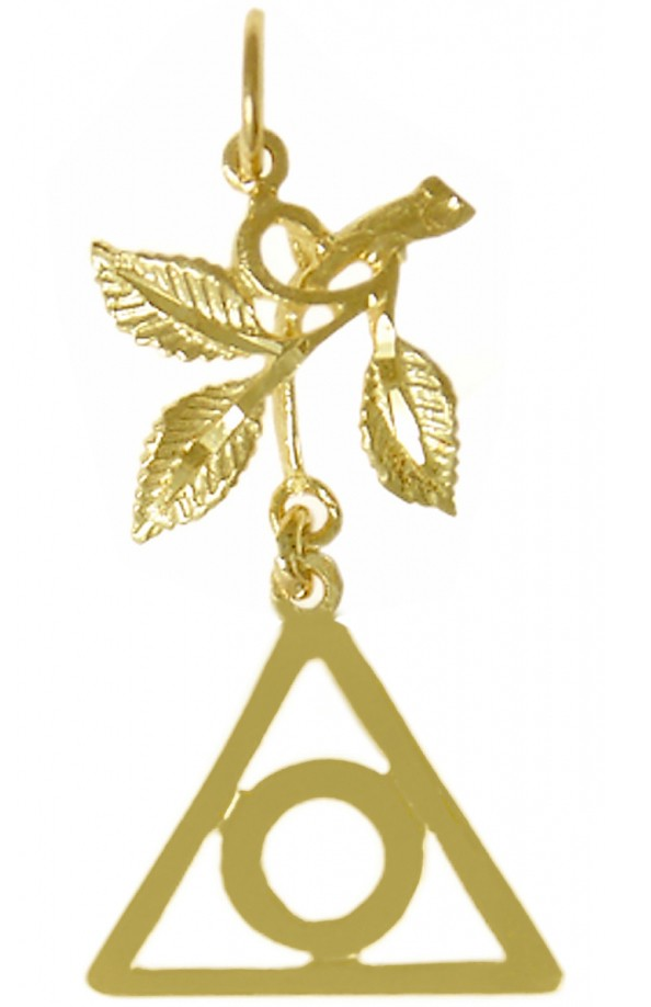 14k Gold Al Anon Symbol Pendant With 3 Leaves