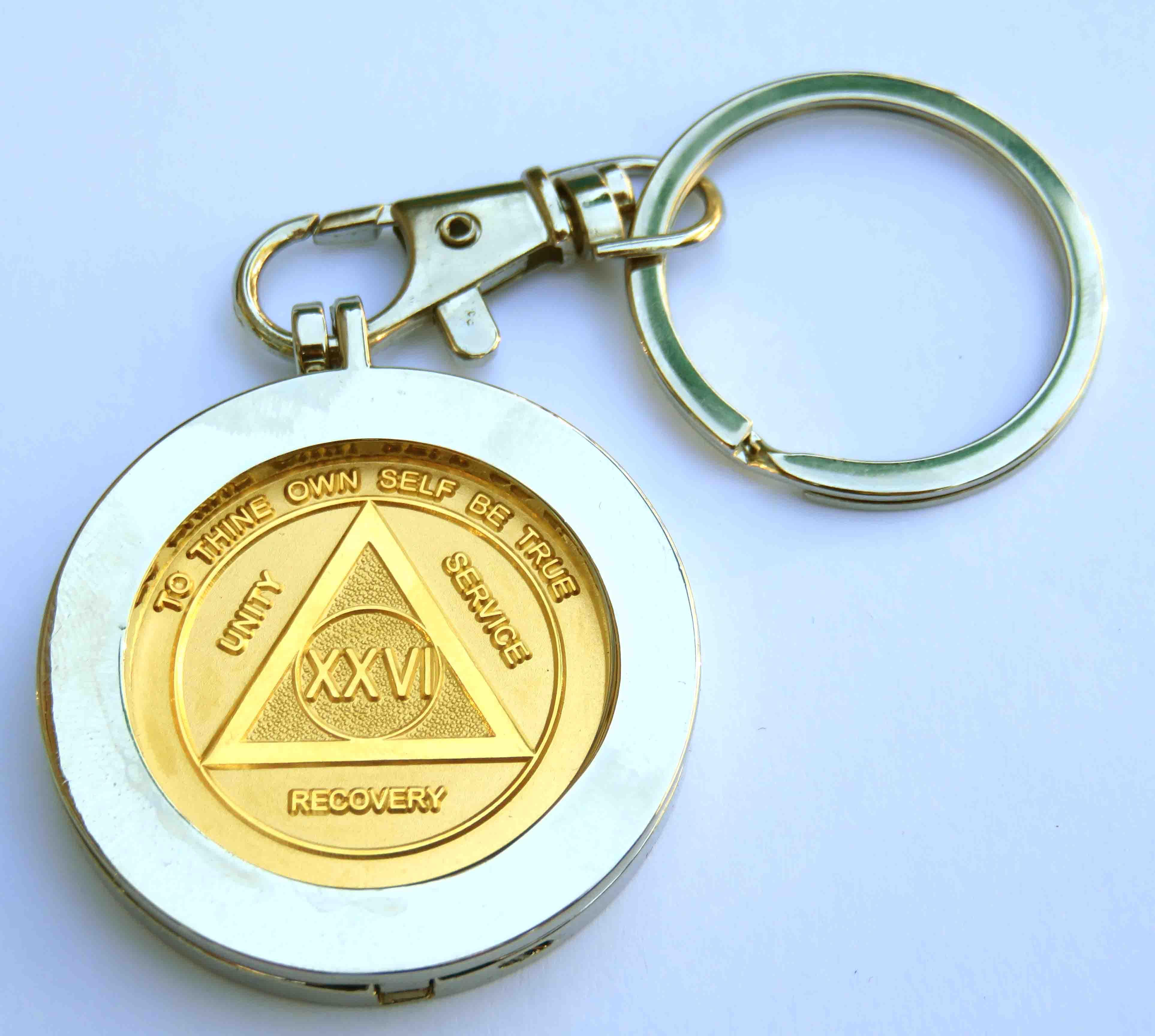 Metal Key Chain Medallion Holder Nickel