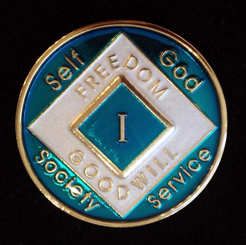 Na Turquoise Blue Enamel Recovery Medallion