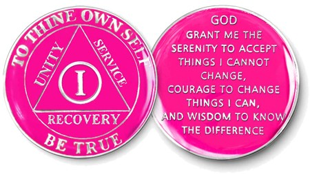 Hot Pink Aa Tri Plate Recovery Medallion