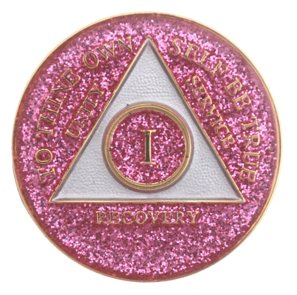 Glitter Pink Aa Recovery Medallion Pink Sobriety Medallion