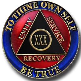 Red Blue Black Aa Recovery Medallion My 12 Step Store