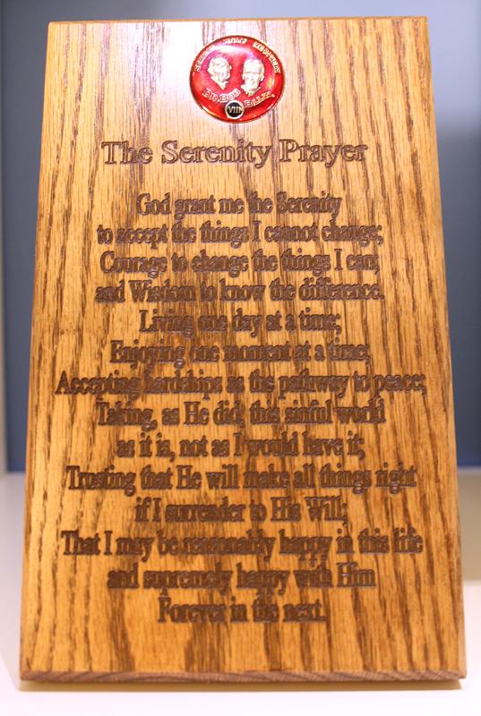 Solid Oak Serenity Prayer Medallion Holder Wall Plaque