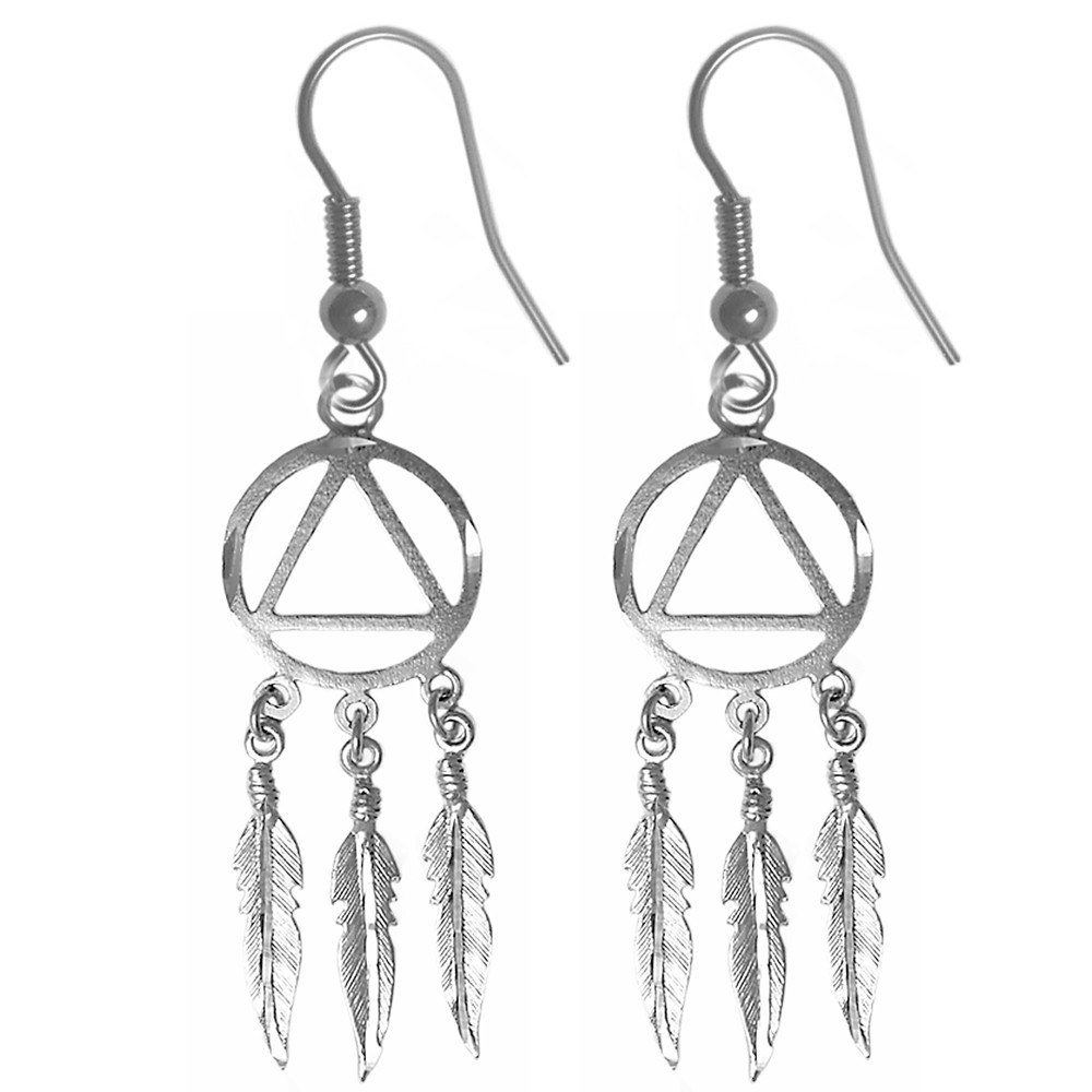 sterling silver aa symbol indian feathers earrings