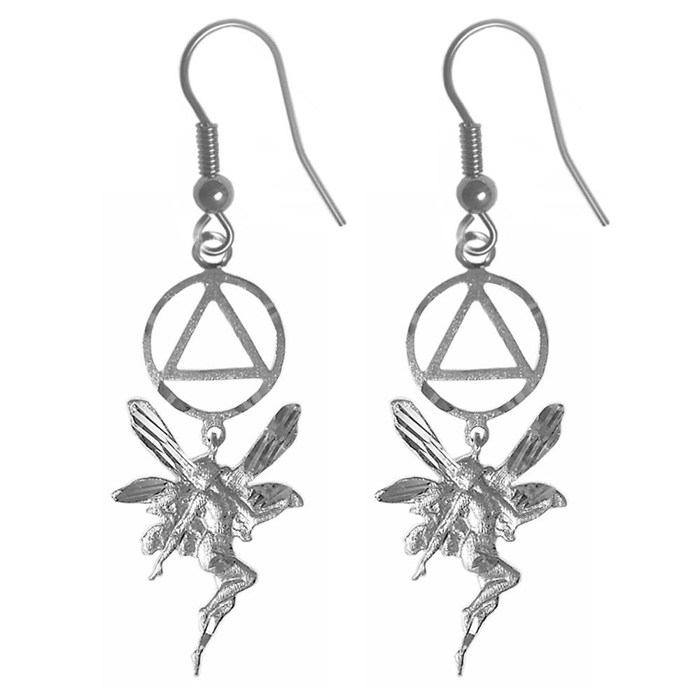 sterling silver fairy aa symbol earrings