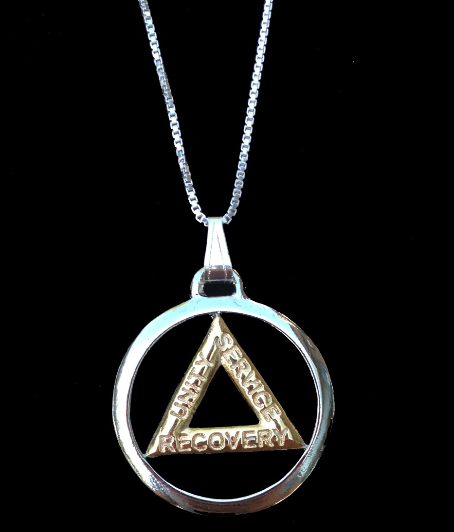 Silver And Gold Plated Aa Symbol W Sterling Silver Necklace Chain