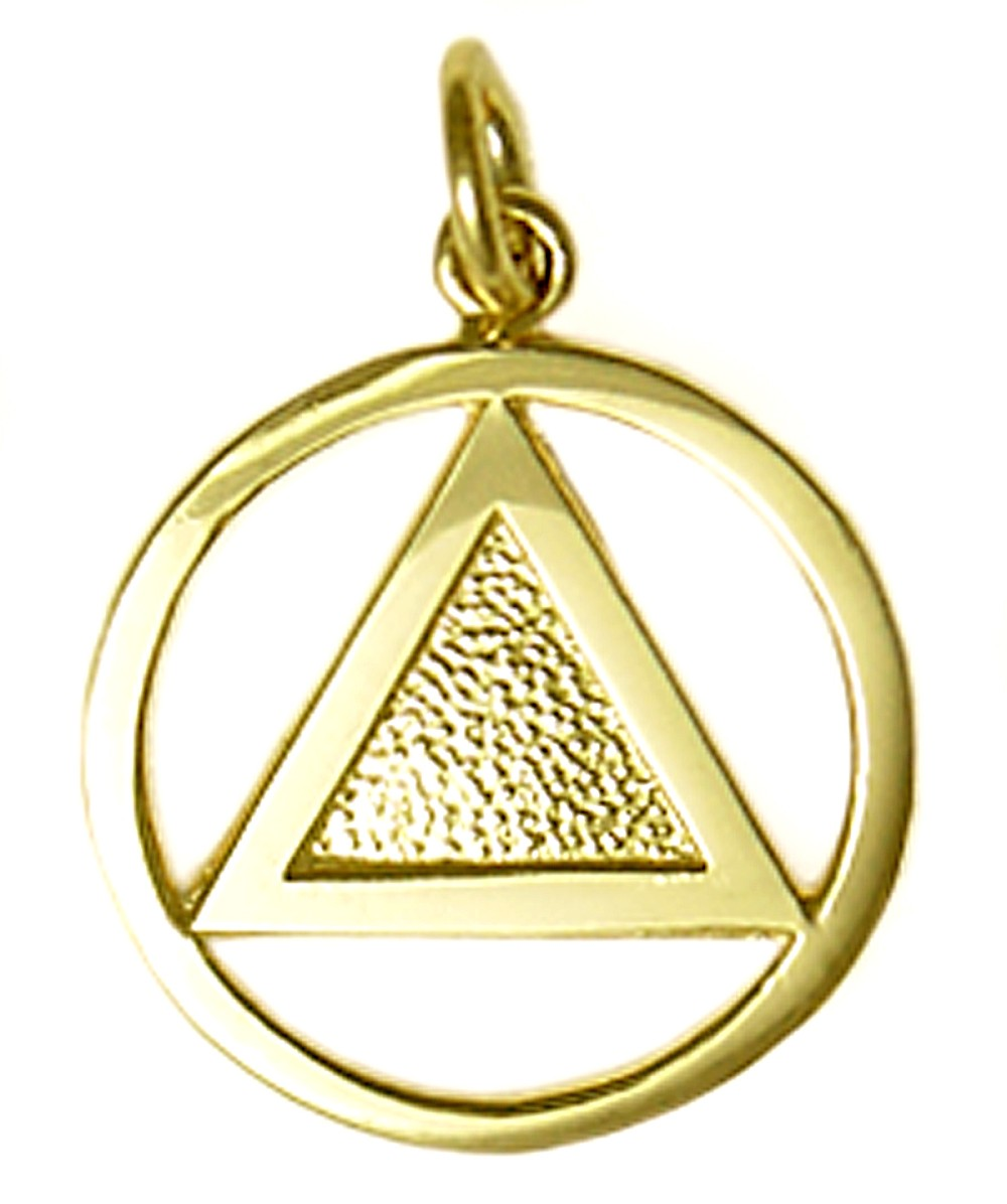 14k Gold Solid Triangle Aa Symbol Pendant
