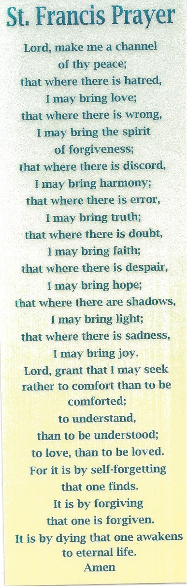 St. Francis Prayer Bookmark