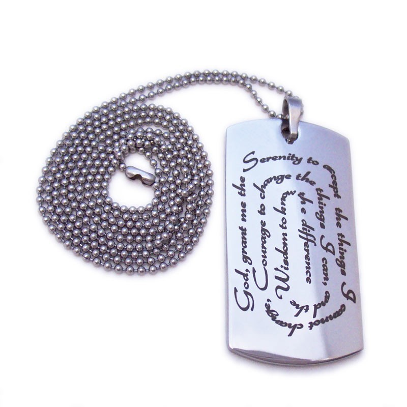 swirl serenity prayer designer dog tag necklace