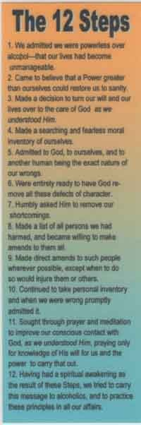 12 Steps Of Alcoholics Anonymous Bookmark