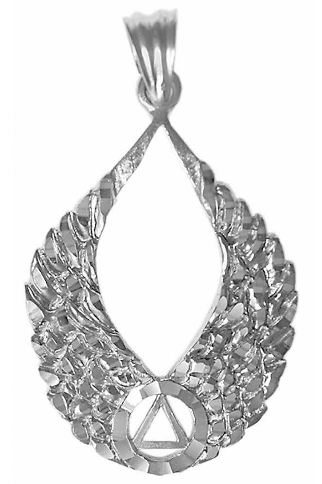 Aa Symbol On Beautiful Angel Wings With Diamond Cut Accents Pendant