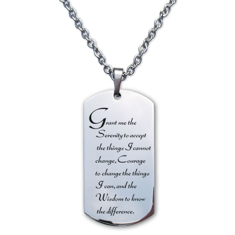 Serenity prayer jewelry aa dog tags my 12 step store the agnostic version of the serenety prayer is displayed on extra thick mirror polish solid luxinum metal this serenity prayer aloadofball Images