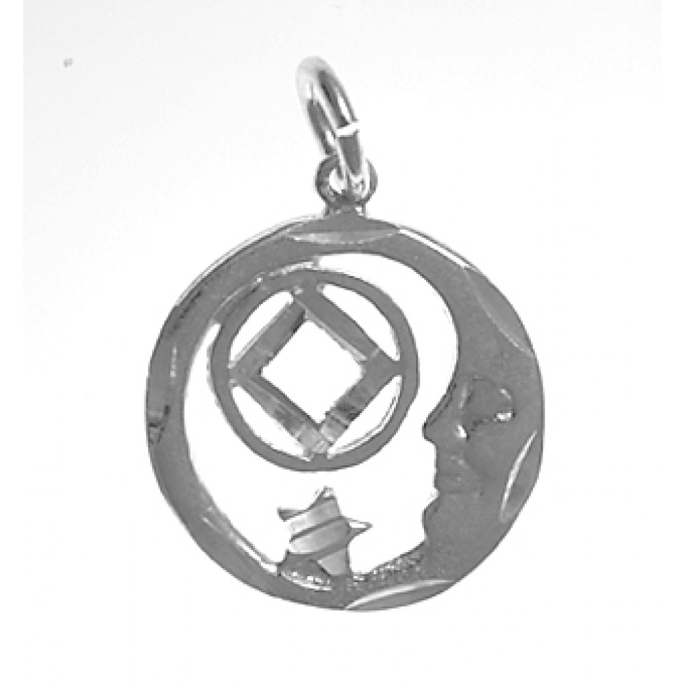 Sterling Silver Moon And Star With Na Symbol Medium Size Pendant