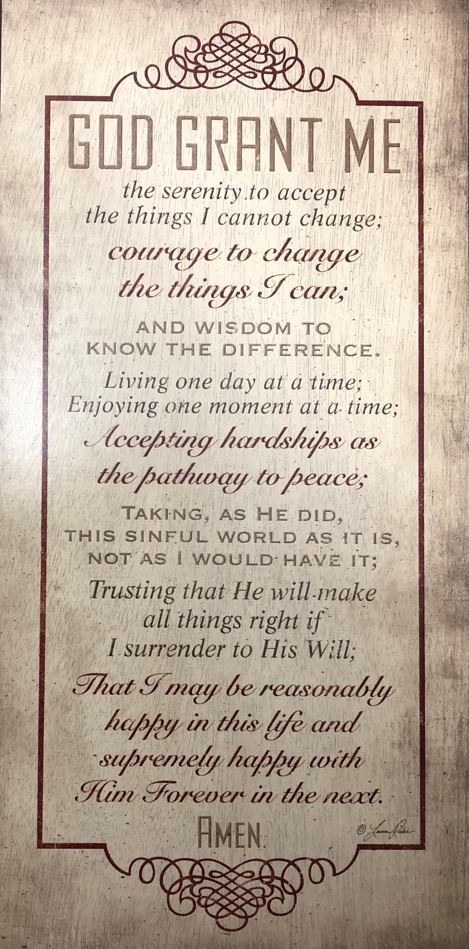 Serenity Prayer Wall Plaque My 12 Step Store