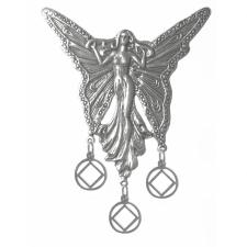 Sterling Silver, Beautiful Large Fairy with 3 Hanging NA Symbol Pendants