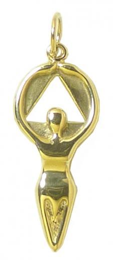 14k Gold, AA Women in Recovery Pendant, Medium Size
