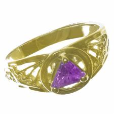 14k Gold, AA Symbol Ring with a 5X5mm CZ Triangle in Purple Amethyst Color, Filigree Style