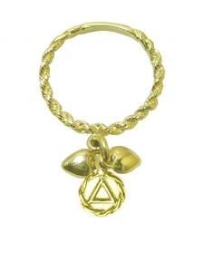 14k Gold, Dangle Ring, Twist Wire Style with a small AA Circle Triangle Charm and 2 Hearts