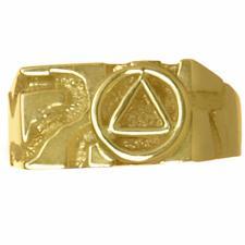 14k Gold, Rectangular Ravine Textured Style Men's AA Symbol Ring