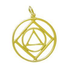 14k Gold, AA & NA Anonymous Dual Symbol Pendant, Large Size