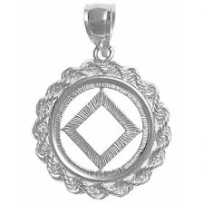 Sterling Silver, NA Symbol, Rope Style Circle