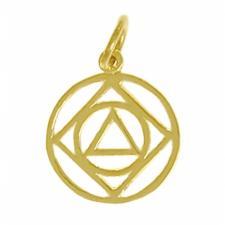 14k Gold, AA & NA Anonymous Dual Symbol Pendant, Medium Size