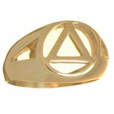 14k Gold, Mens Ring with AA Symbol in a Wide Style Band