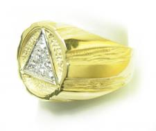 14k Gold, AA Symbol Mens Signet Style Ring with 6-25pt. Diamonds in the center of the Triangle