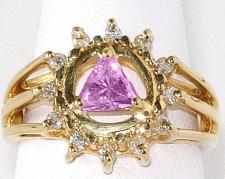 14k Gold, AA Symbol Ring with a Circle of 12 Small 2 pt. Clear CZ's and a 5X5mm CZ Triangle in Purple Amethyst in the Center