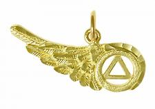 14K Gold AA Recovery Symbol on a Beautiful Angels Wing with Diamond Cut Accents