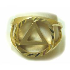 14k Gold, Mens Ring with AA Symbol in a Diamond Cut Circle, Open on Both Sides
