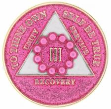 Swarovski Bling w Pk Crystal Circle on Glitter Pink Medallion
