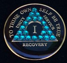 Turquoise Blue & Black Bling Tri-Plate Medallion