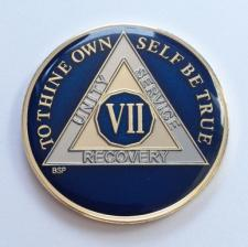 AA BLUE Tri-Plate Enamel Recovery Medallion