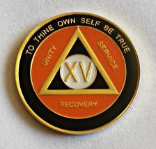 AA Gold Black and Orange Recovery Medallion