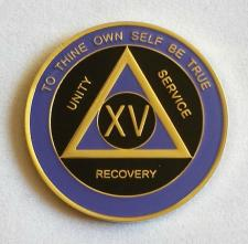 AA Gold Black and Purple Recovery Medallion