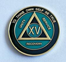 AA Gold Teal and Black Recovery Medallion